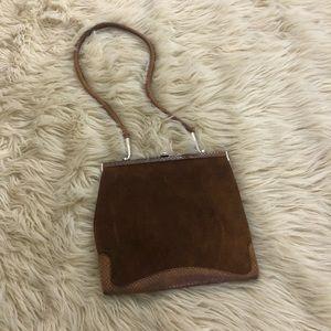 Vintage Loewe suede leather clutch handbag